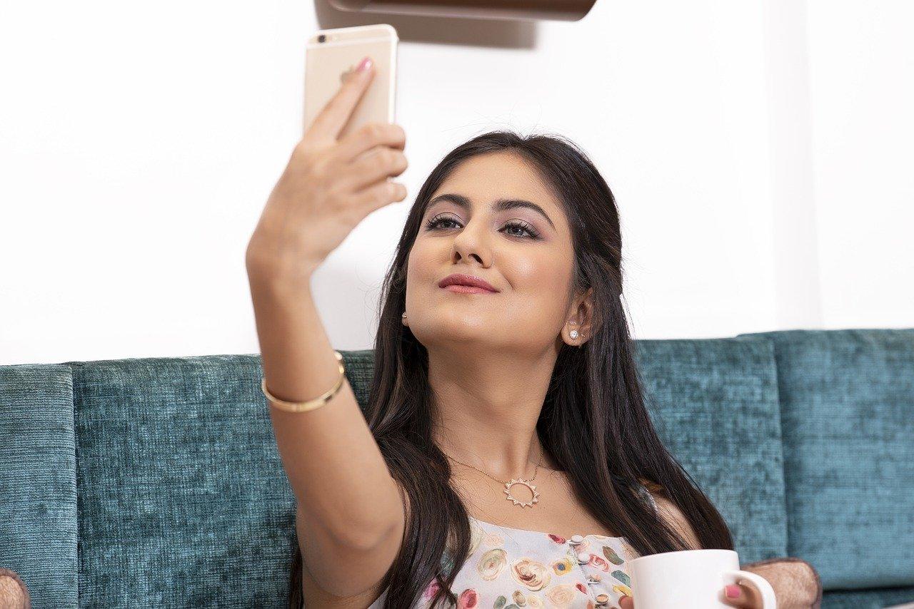 selfie, girl, young