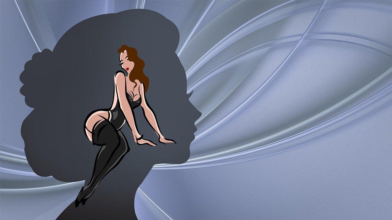 女性の頭と体
