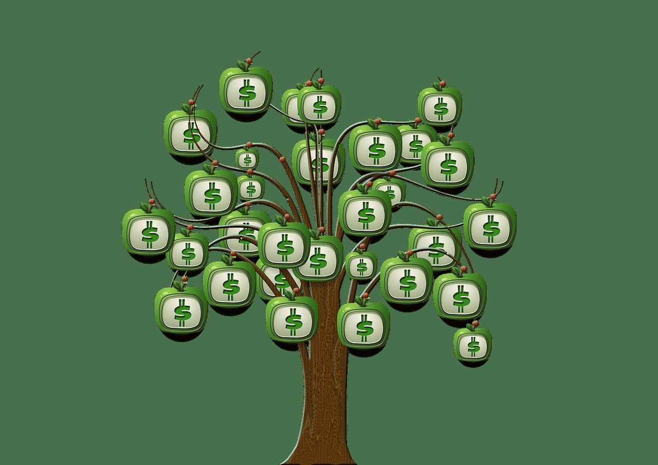 お金がリンゴになった木