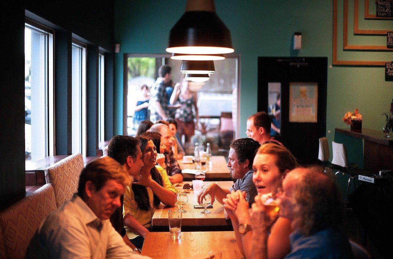 レストラン、人々、食事