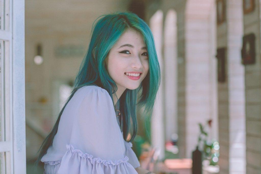 笑顔、女性、緑