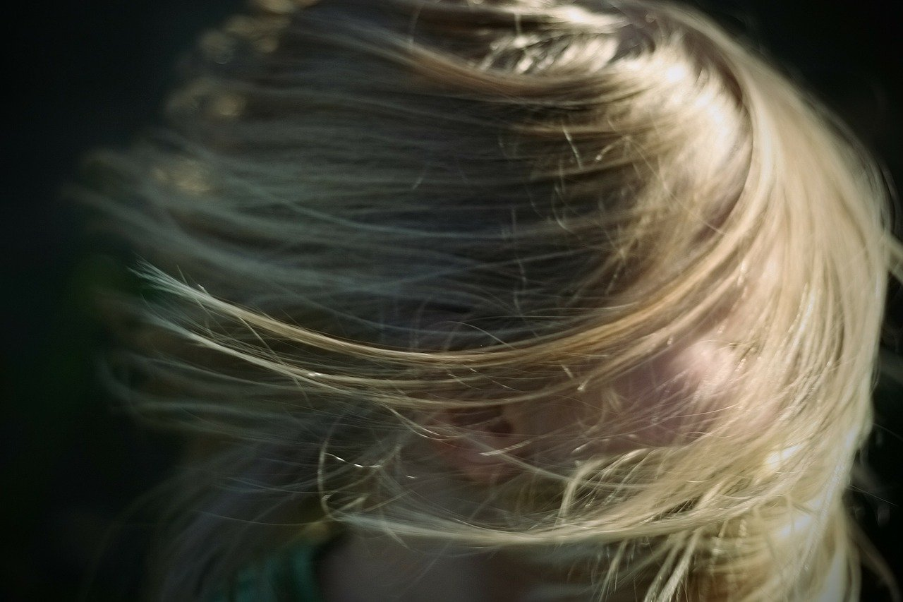 ブロンド、髪、女性