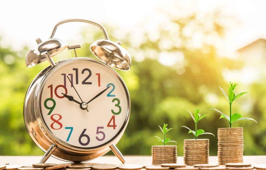 時計、コイン、お金
