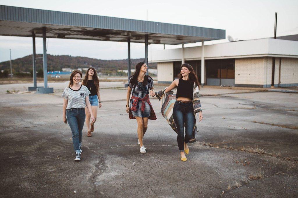 女子、グループ、10代