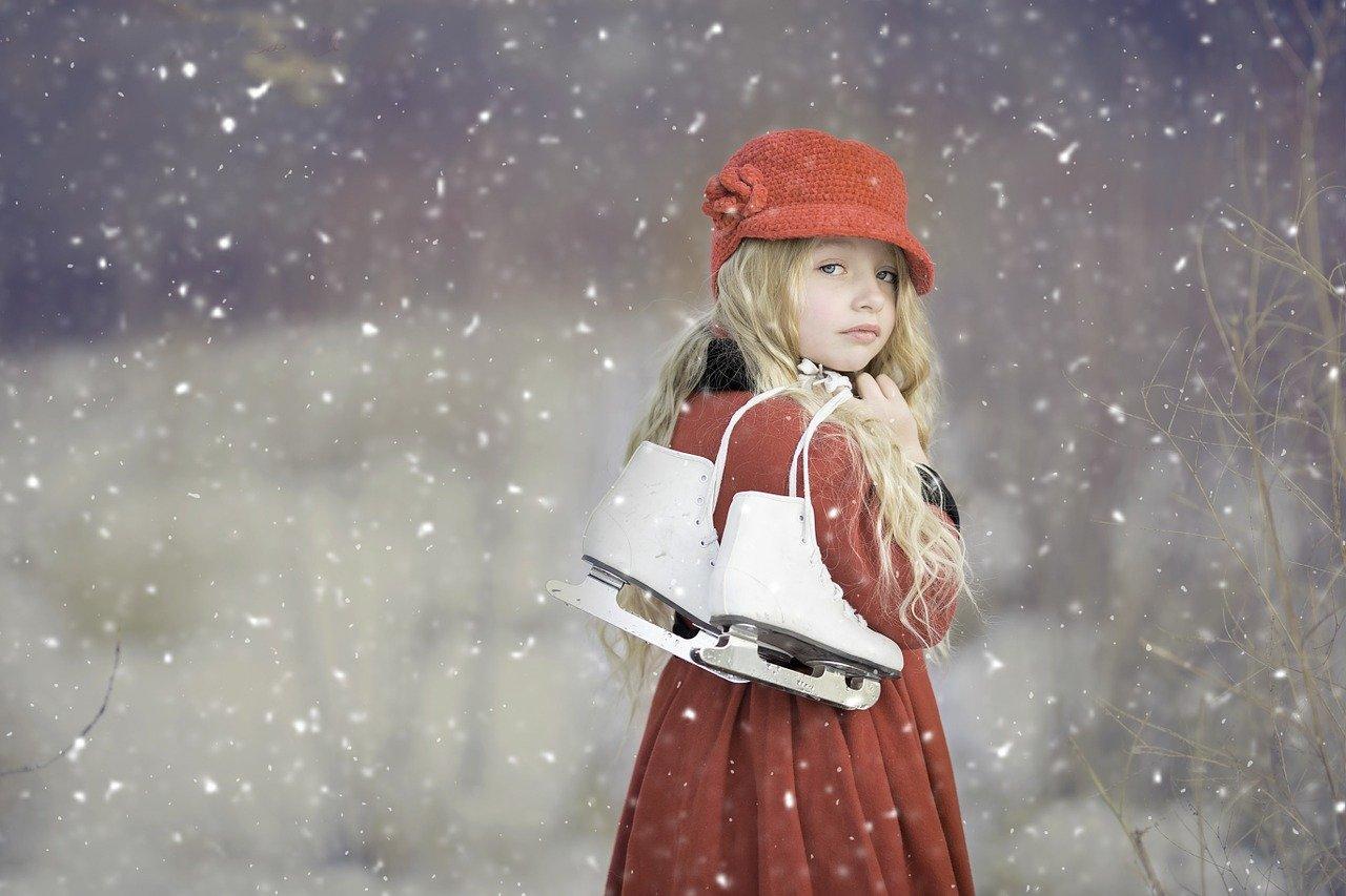 女の子、スケート、冬、雪