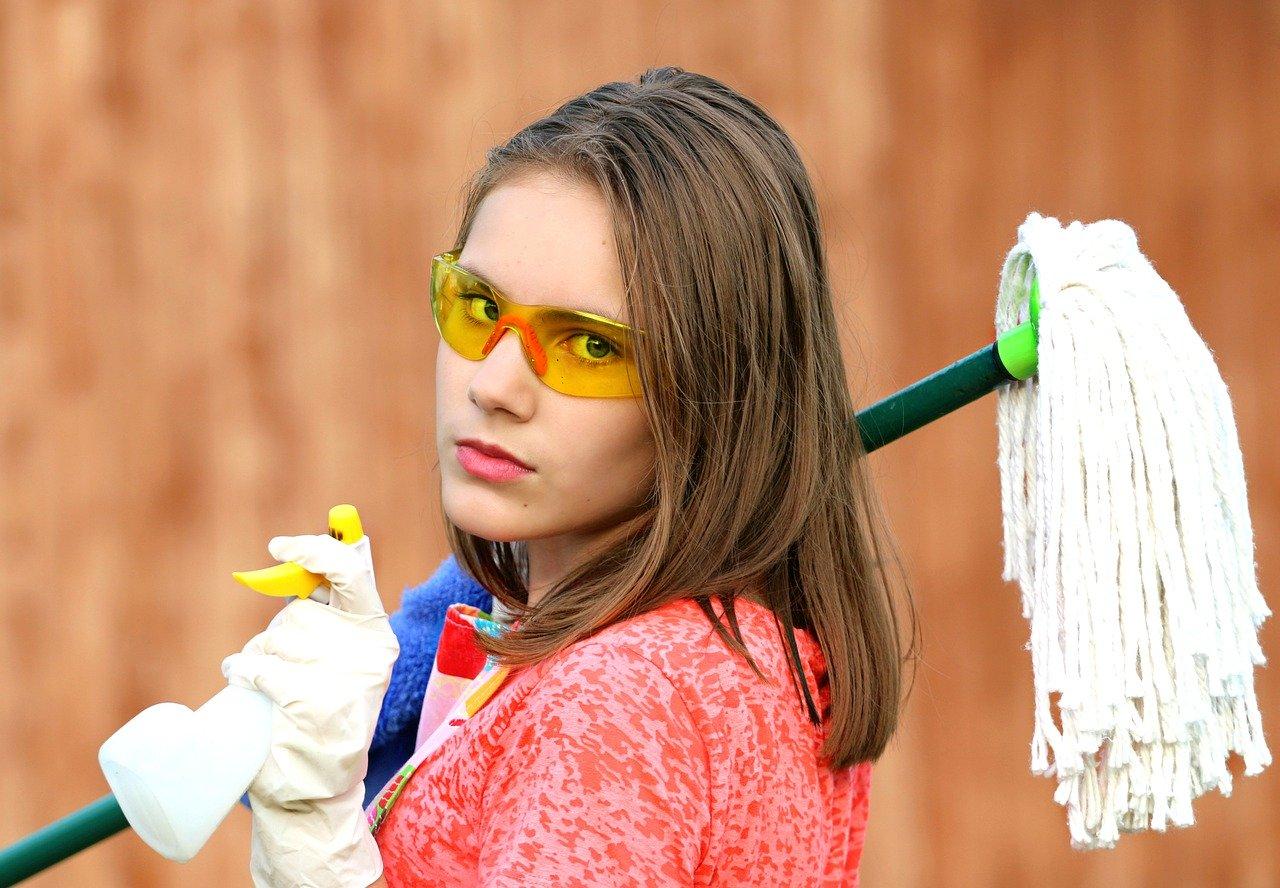清掃、掃除、女性、モップ
