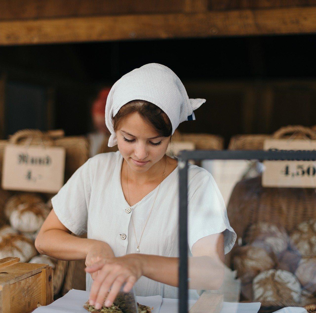パン屋、女性
