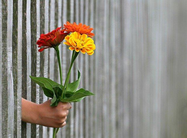 花を持った手