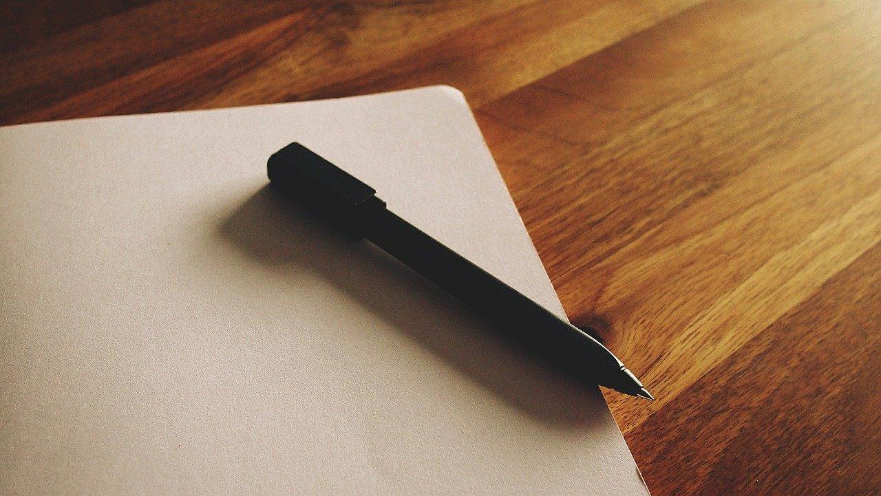 ペン、空白ページ