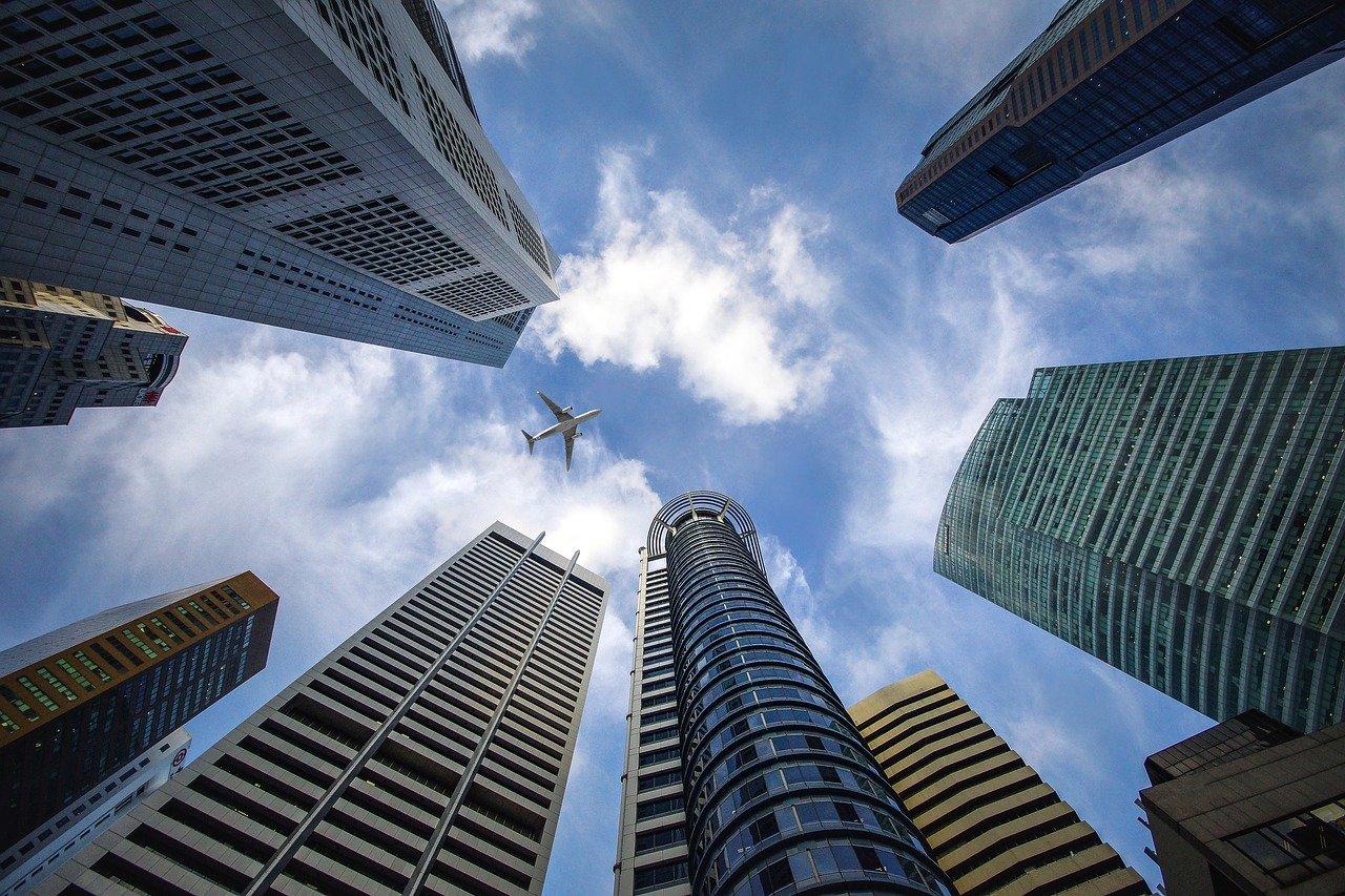 超高層ビル、シンガポール、空