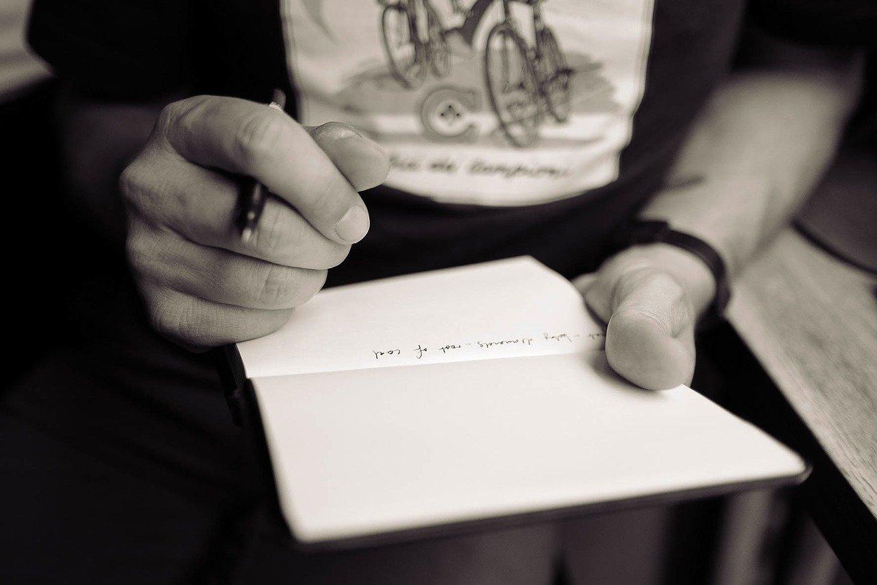書く、手、メモ