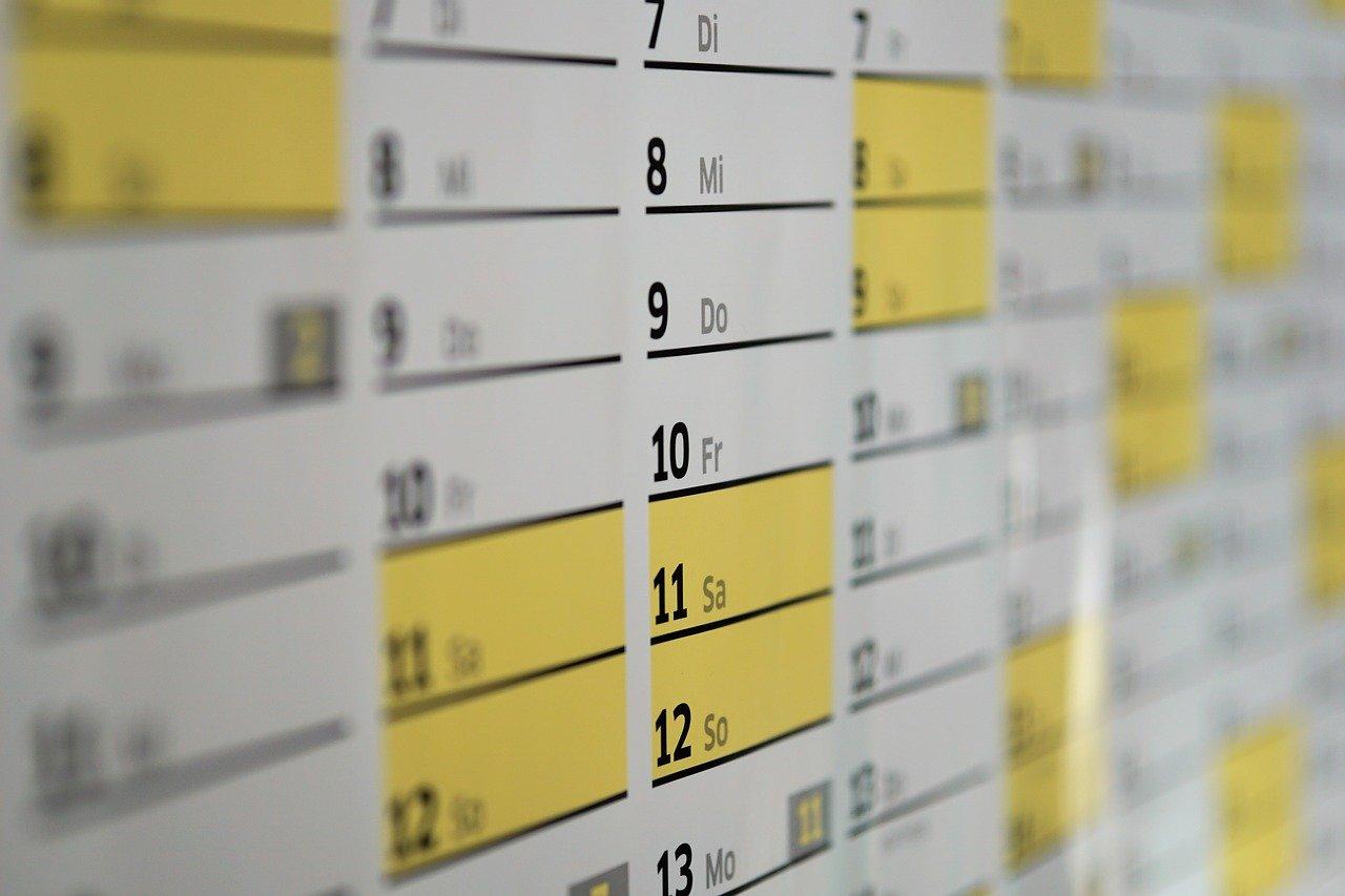 カレンダー、日付