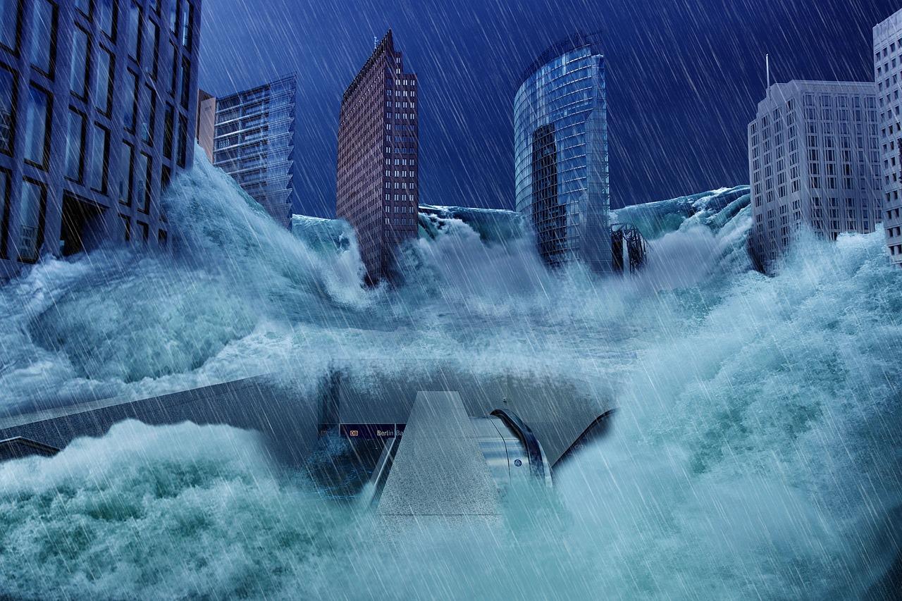 ビル、洪水