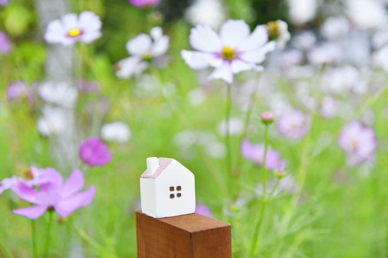 花と家のブロック