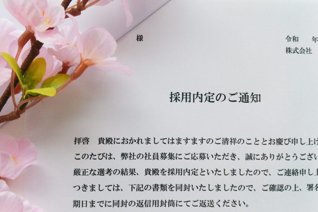 採用通知書、桜