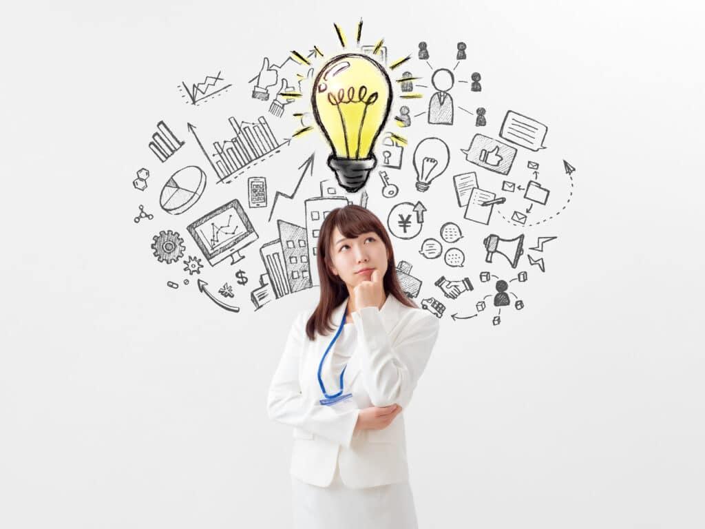 女性とアイデア