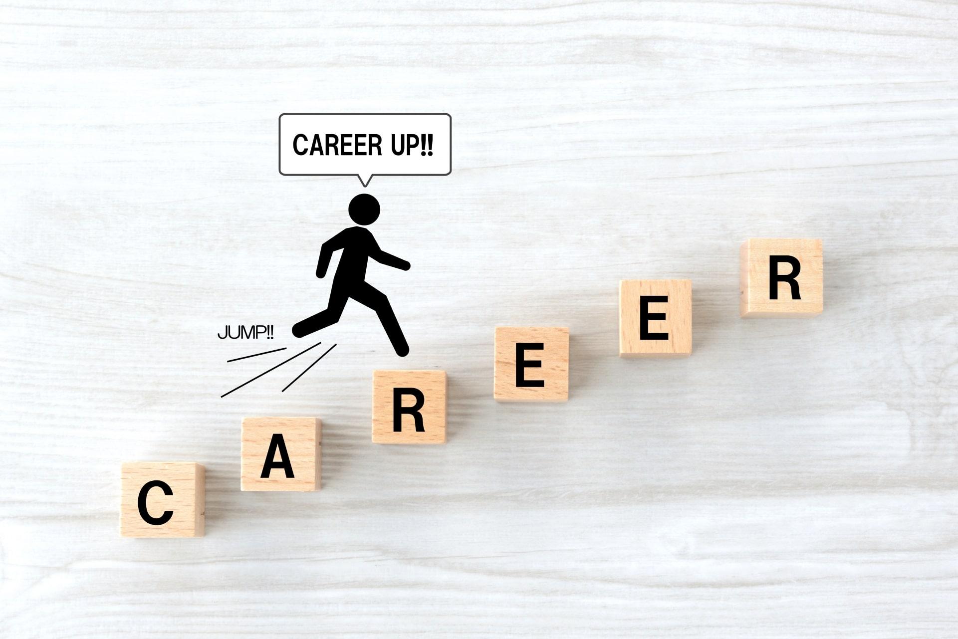 キャリアアップの文字、ピクトグラム