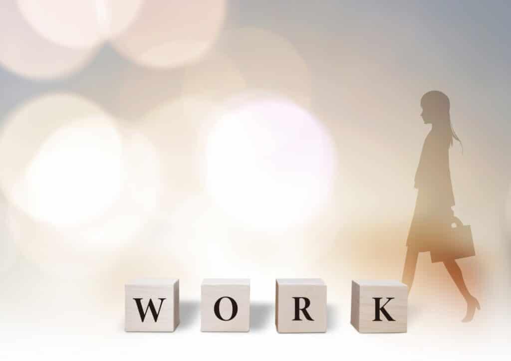WORKの文字、女性のシルエット