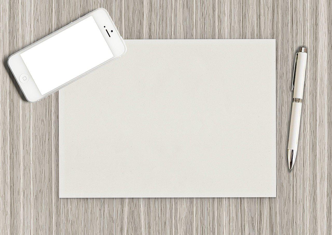 紙、ペン、白紙