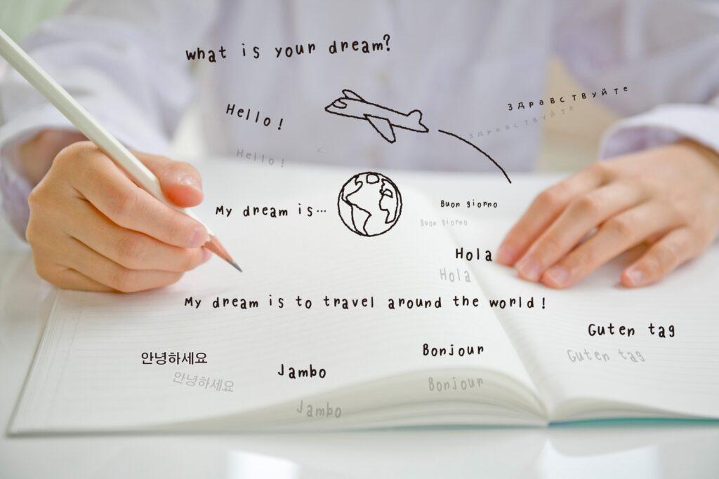 色々な外国語と女性の手