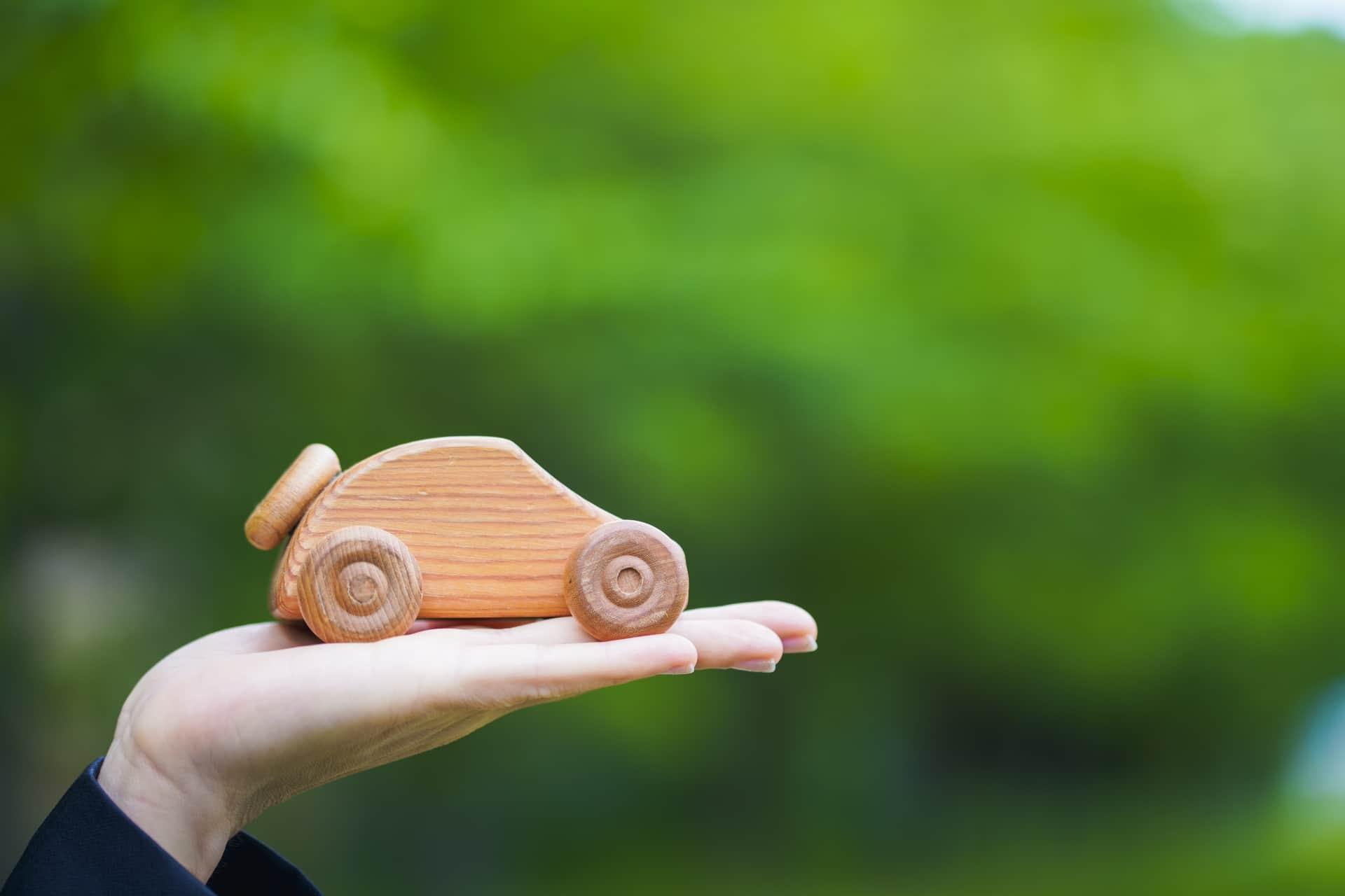 木の車をもつ女性の手