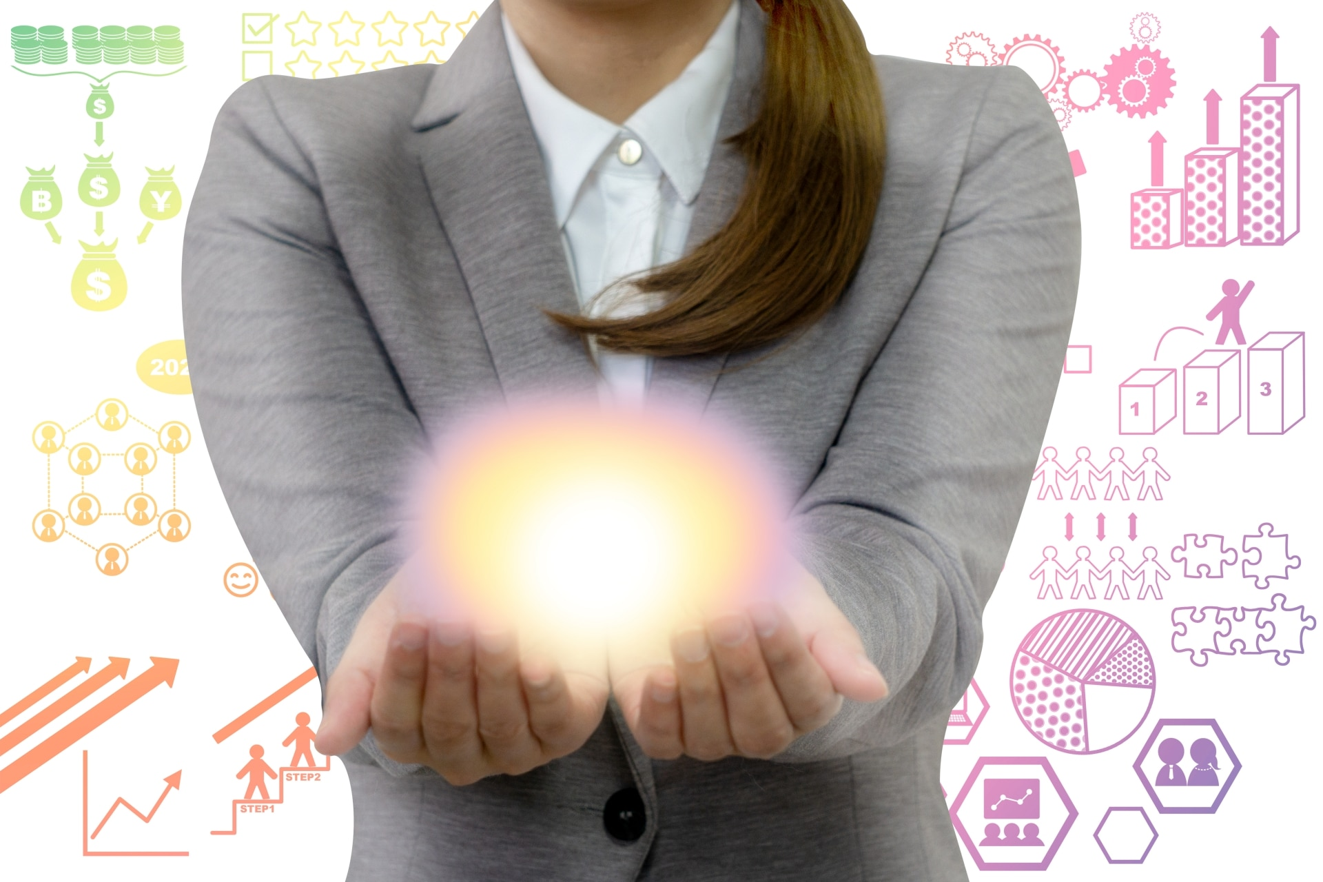 手で光を支える女性
