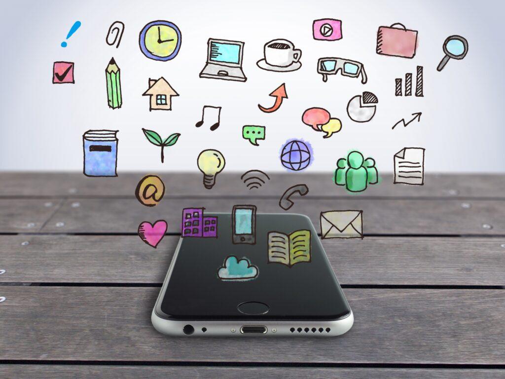 スマートフォン、アプリケーションのアイコン