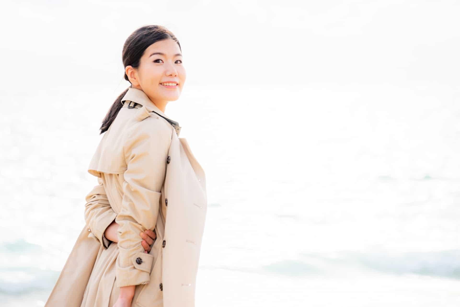 女性、コート